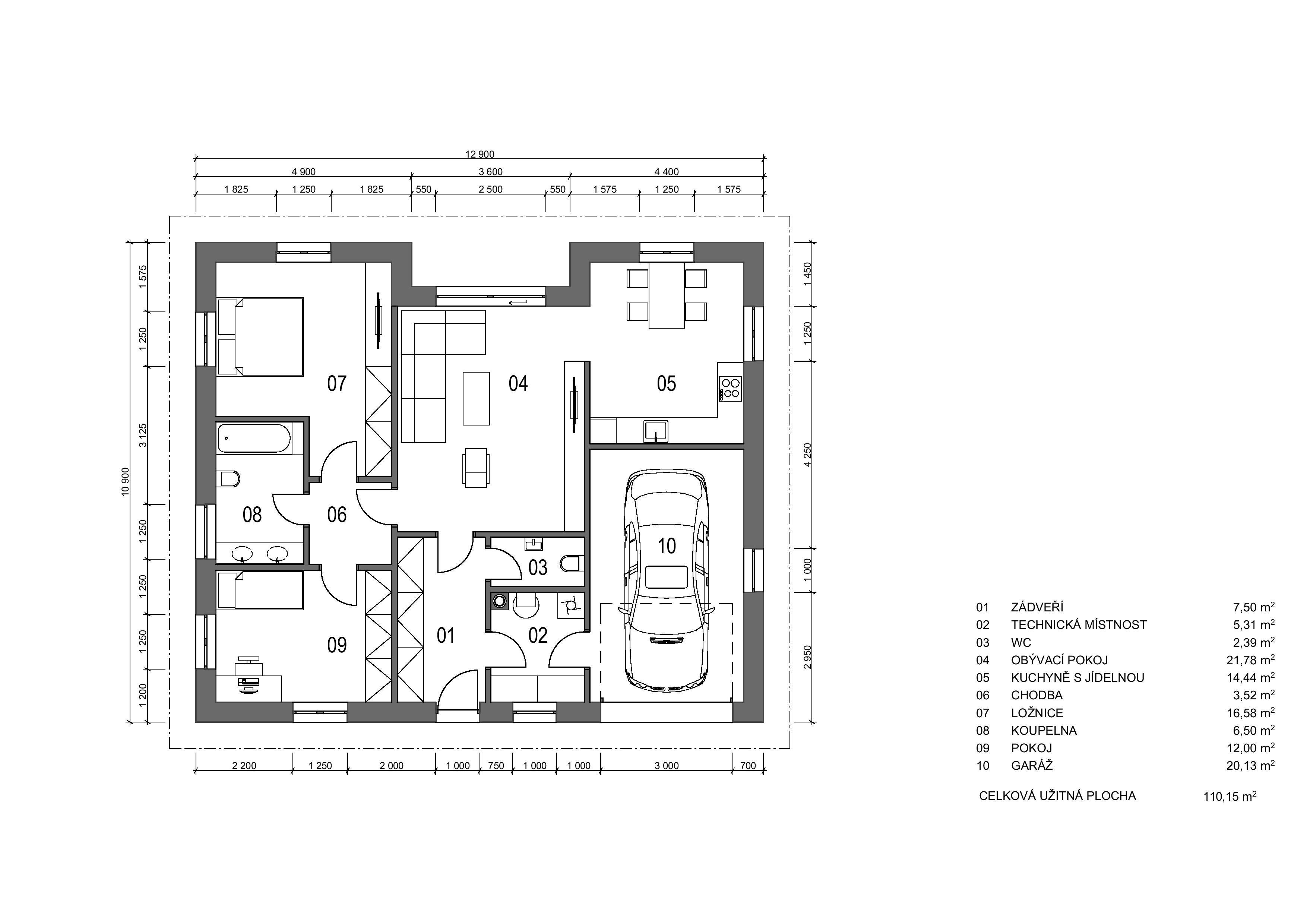 Půdorys 1NP - studie 3-1, garáž-page-001
